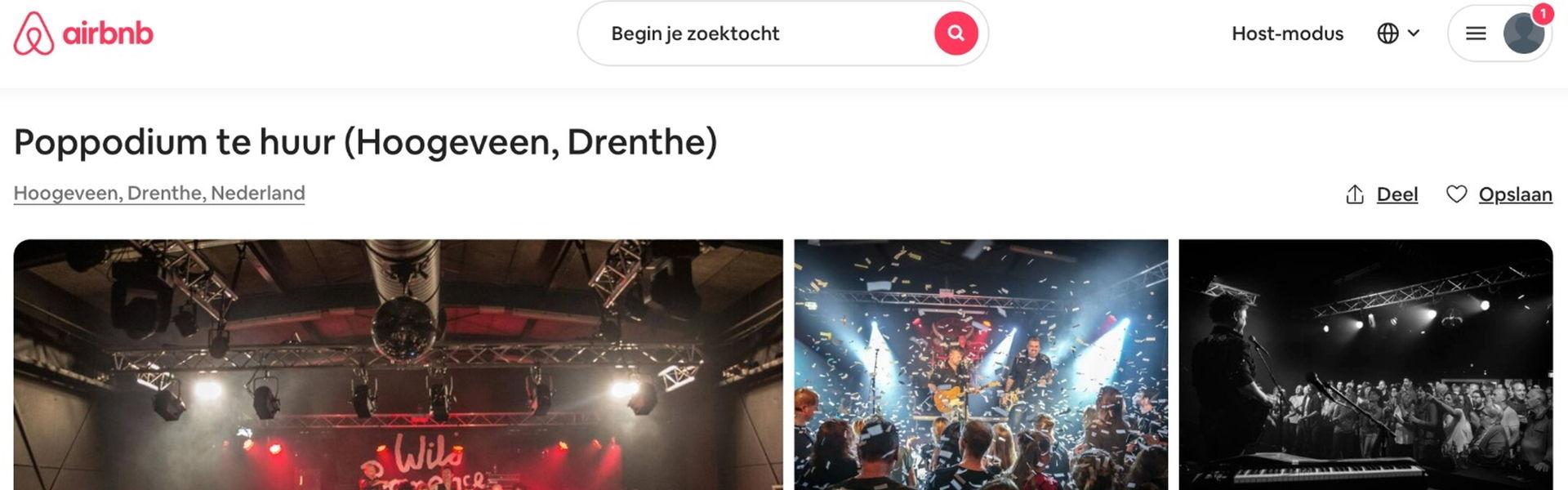 Het Podium verhuurt haar locatie via Airbnb