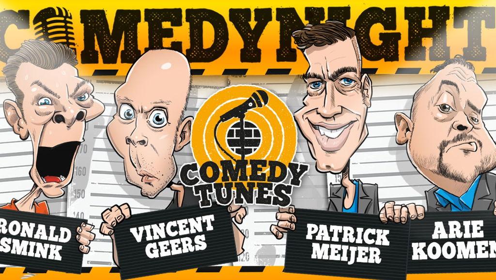 Klaar voor een avond vol humor, met drie van de beste comedians van Nederland?  Op deze Comedytunes Comedynight vertellen drie comedians in hoog tempo de meest absurde en hilarische verhalen. MC Patrick Meijer praat het geheel aan elkaar. Je merkt het al snel: je ontspant, lacht en voelt je stresshormonen verdwijnen. De maffe verhalen van de comedians zorgen voor de aanmaak van endorfine en gelukshormonen. Na een avondje Comedytunes Comedynights sta je daarom weer buiten met een fris en energiek gevoel. Waar wacht je nog op?! Vincent Geers, Ronald Smink en Jeroen Pater staan al te trappelen!